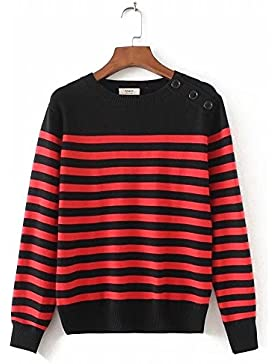 El otoño e invierno suéter femenino elegante color hechizo rayas cuello redondo San Sau de manga larga camisa...