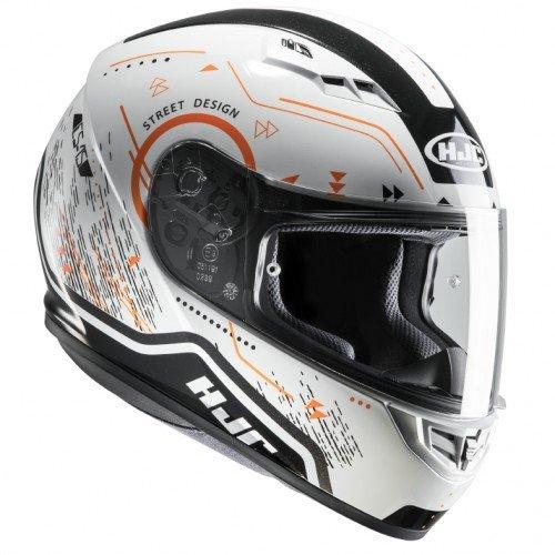 HJC Cascos Moto, Blanco/Naranja, Talla XS