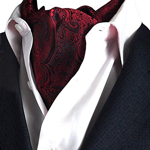 YCHENG Herren Krawattenschal Elegant Blumenkleid Ascot Seidenschal Paisley Jacquard Anzug Zubehör Rot 100-135cm -
