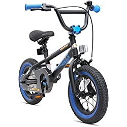 "BIKESTAR Bicicleta Infantil para niños y niñas a Partir de 3 años | Bici 12 Pulgadas con Frenos | 12"" Edición BMX Negro"