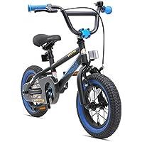 "BIKESTAR Bicicleta Infantil para niños y niñas BMX | Bici 12 Pulgadas | Color Negro | Frenos de Tiro Lateral y Freno de contrapedal | A Partir de 3 años | 12"" Edición BMX 2018"