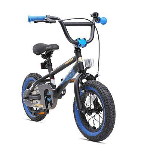 BIKESTAR Freestyle Sicherheits Kinderfahrrad 12 Zoll für Mädchen und Jungen ab 3-4 Jahre ★ 12er Kinderrad Kinder BMX ★ Fahrrad für Kinder Schwarz & Blau