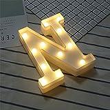 DIY LED Brief Beleuchtung Alphabet Event Dekoration Nachtlichter Stimmungslicht Schlummerleuchten Lampen Kunststoff Dekorationen für Geburtstag Party Hochzeit (N)