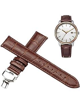 Souarts Wasserdicht Uhrband Faltschliesse Armband Ersatz Band 20mm Braun