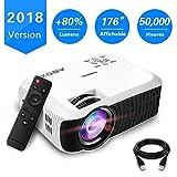 【Nouvelle Version】ABOX Vidéoprojecteur Portable LED LCD Projecteur HD 1080p, Mini Soutien Dolby Audio HDMI USB VGA AV SD, Retroprojecteur(Cordon HDMI Offre) T22
