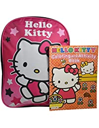 "Sanrio Hello Kitty Girls' 15"" School Bag Backpack Travel Bag W/ Bonus Coloring Book"