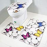 GXQL Innenteppich Dreiteilige Toilettensitzauflage, Druckfarbe Schmetterlingsstein WC-Bodenmatte Rutschfester, saugfähiger WC-Bezug Bad Mat Decke