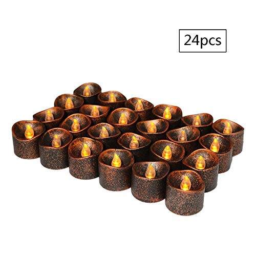 Flammenlose LED-Kerzen,Elektrische Kerzen,Pack von 12 batteriebetriebene LED Teelichter für Geburtstag Hochzeit Festival Home Decor - inkl Batteriebetriebe 100 Stunden[Warm White (Schwarzes Gold)] (Gold Und Schwarz-mittelstücke)