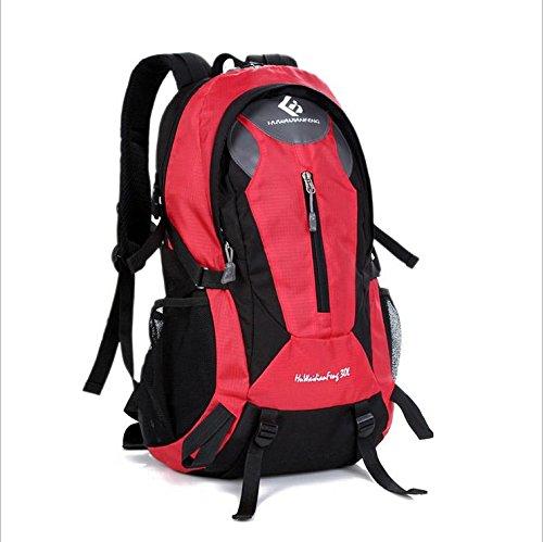 BM 30L l viaggio zaino in nylon maschio all'aperto sport zaini trekking impermeabili borse donna , Black Red