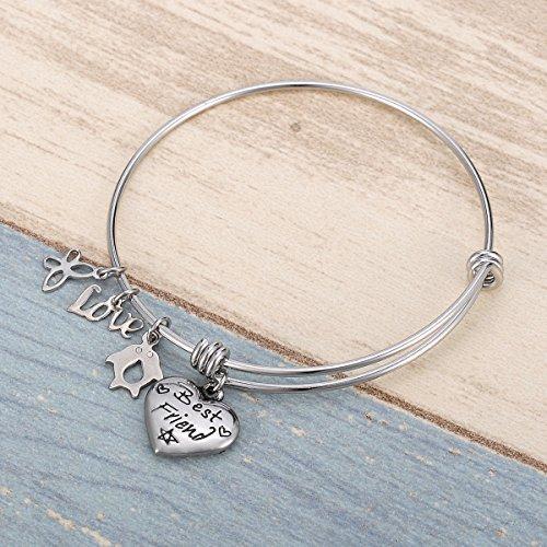 HOUSWEETY Bracelet Fil Reglable Acier Inoxydable avec des Breloques Coeur Papillon Pingouin inscription style 3