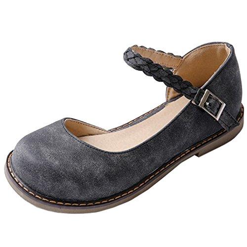 TAOFFEN Femmes Escarpins Mode Plate D'Orsay Chaussures De Boucle Noir