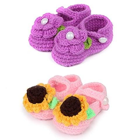 kilofly Socks Baby Girl Newborn Infant Hand Crochet Shoes Booties, Set of 2