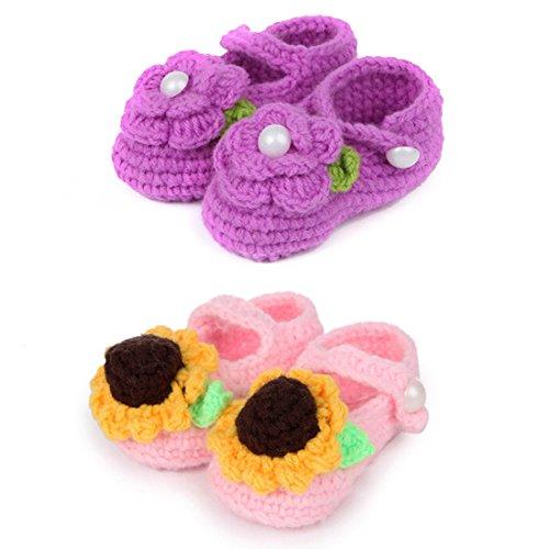 kilofly Chaussettes Bébé Fille Nouveau-Né Infantile à la Main au Crochet Chaussures Chaussons, Lot DE 2 - Rose - set2 B,