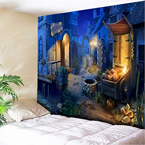 xqwzm Kürbis Halloween Tapisserie Blau Charmant Stadt Wandbehang Tapisserien Halloween Party Decor Home Wohnzimmer Wand Handtuch 200X150 @ 150X130Cm
