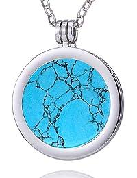 Morella Damen Halskette 70 cm Edelstahl und Anhänger mit Edelstein Coin 33 mm Chakren Scheibe in Schmuckbeutel