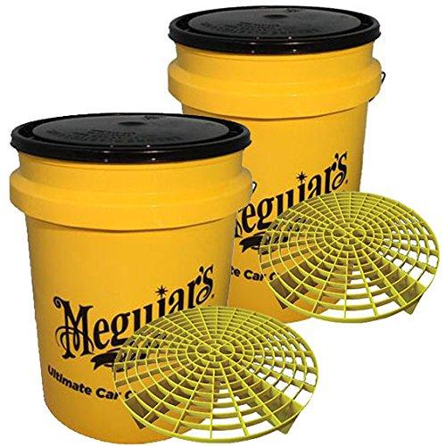 2x Meguiar's Grit Guard Eimer gelb + Deckel 15Liter Sitz (Zymol Auto Waschen)