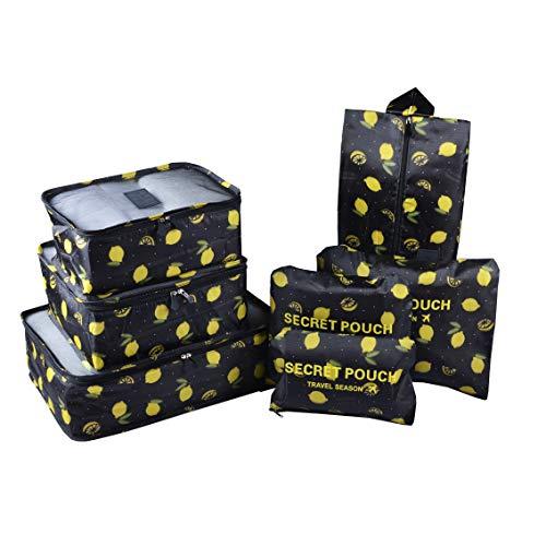 Set di 7 Organizer di Valigia per Viaggio, TOYESS Impermeabile Leggero Organizzatori da Viaggio, 3 Cubi per Imballaggio + 3 Buste + 1 Borsa per Scarpe, Limone nero