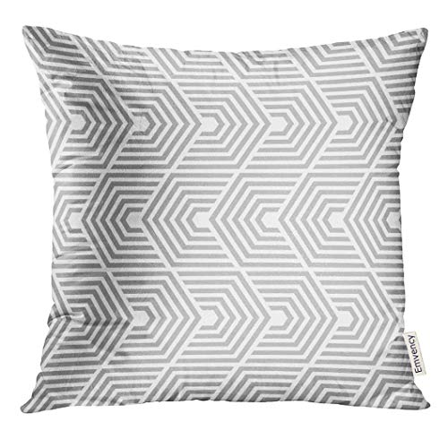 Throw Pillow Cover Gray Chevron Abstract Geometric Pattern by Lines Beige Retro Decorative Pillow Case Home Decor Square 18x18 Inches Pillowcase