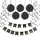 SUNBEAUTY Happy Birthday Girlande Set Geburtstag Dekoration Seidenpapier Pompoms Folie Spirale Deko (Schwarz)