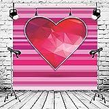 BuEnn 6x6ft Rosa Gestreifte Rote Liebe Valentinstag Fotografie Hintergrund Geburtstagsfeier für Mädchen Baby Shower Hochzeit Dessert Tischdeko Stand - 3