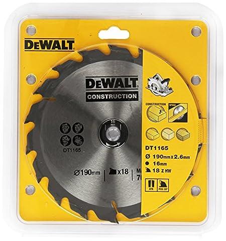 Dewalt DT1165-QZ Circular Saw Blades With INS, Construction For Skill , 190 mm x 30 mm