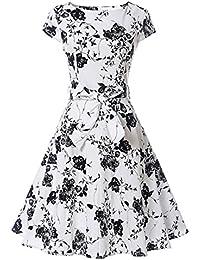 amazon co uk 32 dresses women clothing 1920S -Style vintage dress 1950 s hepburn retro cotton floral pattern print large hem party skater dresses rockabilly