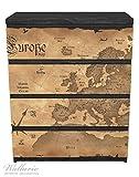 Wallario Möbelfolie / Aufkleber, geeignet für Ikea Malm Kommode - Alte Weltkarte, Karte von Europa in englisch mit 4 Schubfächern