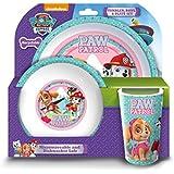 Paw Patrol Geschirr-Set für Mädchen, Set mit Becher, Schale und Teller, Pink, 3er-Set