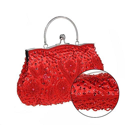 Harson & Jane Ladies Vintage Seed Borsellino Con Paillettes Borsa Da Sera 11 Colori Disponibili Rosa