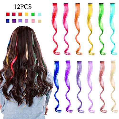 Kyerivs Extensión de cabello ondulado de color arco iris Rizado de múltiples colores Clip para mujeres Niños Niños Regalo Cosplay Fiesta de vestir Accesorios 12 Color 12 pcs