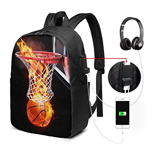 Nicokee Rucksack mit USB-Ladeanschluss Flaming Basketball Korb Rahmen Sport Rucksack Schule Bookbag 17 Zoll Frauen Herren Reise Gaming Laptop Rucksack