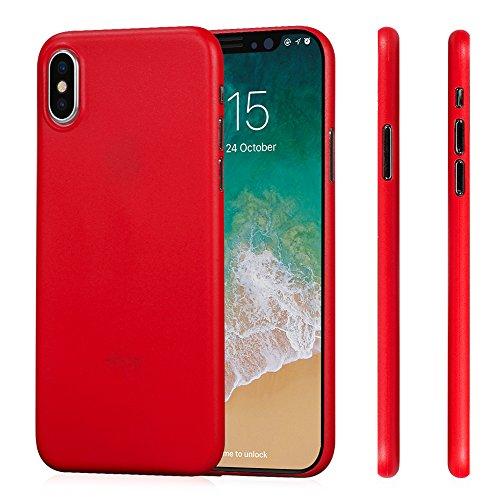 Cover iPhone X, Case iPhone X, MEMUMI Custodia Ultra Sottile Anti-Graffio e Resistente Alle Impronte Digitali Caso Della Copertura Protettiva in Plastica Dura Trans-Red
