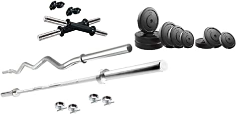 Fat2fit 4 kg Weight Plates (Rubber) + 3ft curl Rod+ 5ft Straight Rod + 1 Pair of dumble rods(Best Quality with Low to Lowest Price