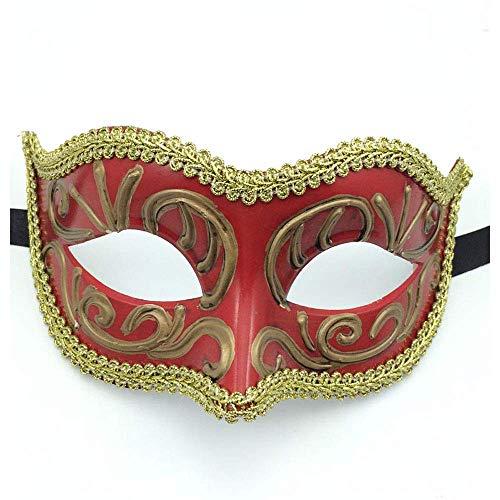 YaPin Halloween handgemalte Kunstsammlung Kindermaske weibliche Erwachsene Ball Prinzessin Kostüm Ball Maske männlich (Color : Red)