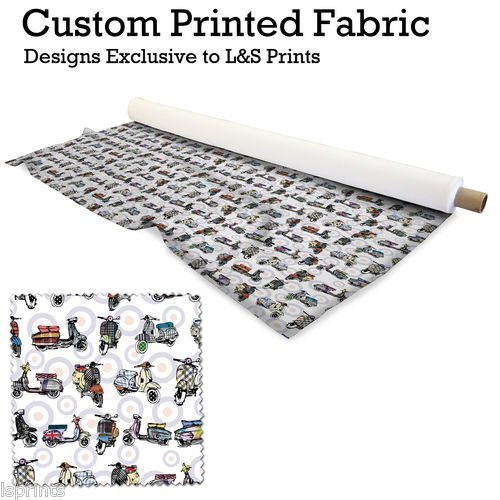 L&S PRINTS FOAM DESIGNS Scooter Mod Target Design Digital Print 145g Polyester bedruckter Stoff 142,2cm Breite hergestellt in Yorkshire