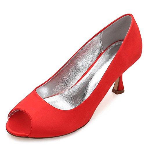 L@YC Chaussures de Mariage Pour Femmes Dames à Talon Bas Peep Toe Satin Party Court Taille (Fait Sur Mesure) E17061-10 red