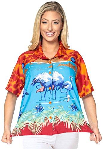 beil�ufiger Frauen der Kragenknopf unten Bluse oben coverup Hawaii-Hemd mit kurzen �rmeln Damen orange blau