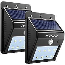 Focos Solares 8 LEDs de Pared,Mpow Faro Solar con Sensor de Movimiento,Lámparas Solares al Aire Libre para Jardín Patio Camino de Entrada Escaleras y Iluminación Exterior 2 Unidades
