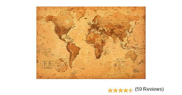 World Map   Vintage   Maxi Poster   61 Cm X 91.5 Cm
