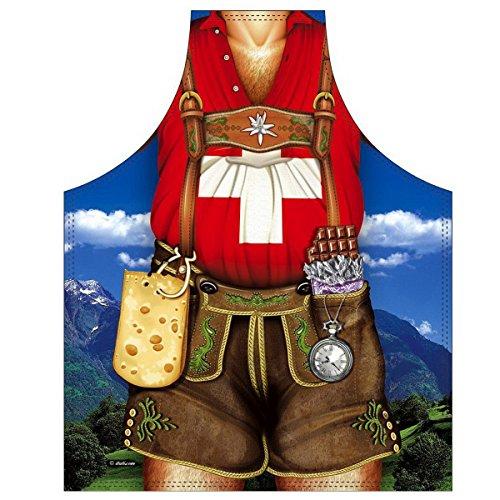 Mega lustiger Scherzartikel Schürze mit Kleiner Schürze Schweizer Mann Geschenkartikel für jeden Anlass Karneval Geschenkidee Spassartikel