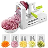 CookJoy B435 - A 5-blade Spiralizer Vegetable Slicer Food Slicer for kitchen,Stainless Steel Blades Slicing, Chopping, Cutting for Salads