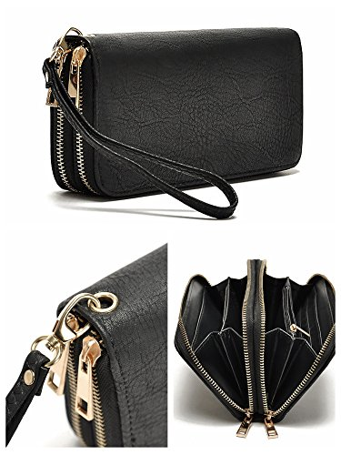 hoxis-generous-faux-texture-leather-purse-organizer-double-zip-around-long-wallet-with-wristlet-blac