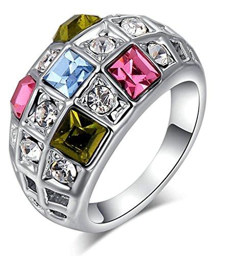Aienid Damen Schmuck Ring Vergoldet Quadrat Zirkonia Multicolor Quadratisch Size 52 (16.6)
