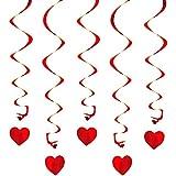 Oblique-Unique® Deckenhänger Spiral Girlanden mit Herzen - Farbe wählbar