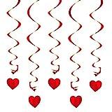 Oblique Unique® Deckenhänger Spiral Girlanden mit Herzen - Farbe wählbar (Rot)