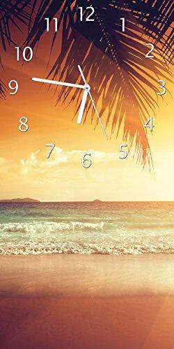 Uhr Palme (Wallario Design Wanduhr Sonnenuntergang am Strand in der Karibik aus Acrylglas, Größe 30 x 60 cm)