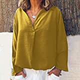 VEMOW Pullover Moda Sudadera Blusa Camisa Mujer Casual Suelto Manga Larga Sólido Cuello en V Color Doblez Tops Abrigos Chaqueta Otoño Invierno(Amarillo,L)