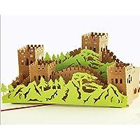 Handgemachte 3D Popup Pop-up Papercraft Die Große Mauer Geburtstag Karte Grußkarte Valentinstag Karte Vatertagskarte China Ziegelsteinberge Schloss Qin-Dynastie Terrakotta Armee Antik.