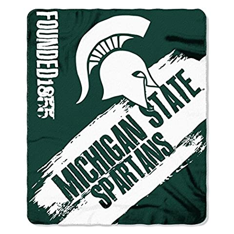 Northwest 1COL031020031RET NCAA Michigan State Spartans Painted Printed Fleece Throw Blanket x, Green, 50