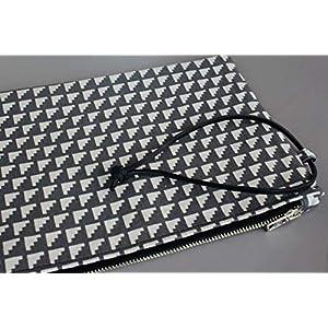¡¡Verkauf!! – Handtasche – Grau – Clutch, handgefertigt in Jeans und Baumwolle, mit Lederband